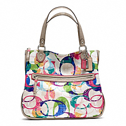 COACH POPPY STAMPED C HALLIE EAST/WEST TOTE - SILVER/MULTICOLOR - F23377