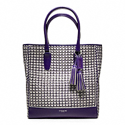 COACH CANING LEATHER TANNER NORTH/SOUTH TOTE - ONE COLOR - F23412