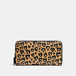 COACH ACCORDION WALLET WITH WILD HEART PRINT - LIGHT GOLD/NATURAL MULTI - F23442