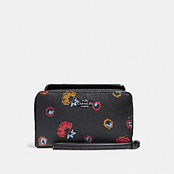 COACH PHONE WALLET WITH PRIMORSE FLORAL PRINT - ANTIQUE NICKEL/BLACK MULTI - F23450