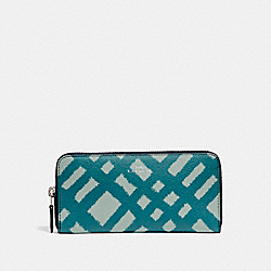 COACH SLIM ACCORDION ZIP WALLET WITH WILD PLAID PRINT - SILVER/BLUE MULTI - F23454
