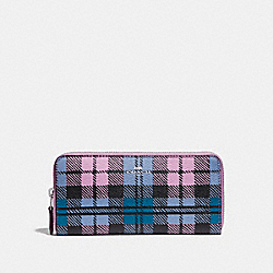 SLIM ACCORDION ZIP WALLET WITH SHADOW PLAID PRINT - SVMRU - COACH F23455