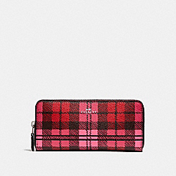 SLIM ACCORDION ZIP WALLET WITH SHADOW PLAID PRINT - SVMRV - COACH F23455