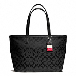 COACH WEEKEND MEDIUM ZIP TOP TOTE IN SIGNATURE FABRIC - SILVER/BLACK/BLACK - F23465