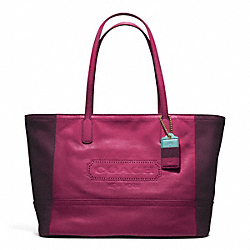 COACH WEEKEND COLORBLOCK LEATHER MEDIUM ZIP TOP TOTE - BRASS/DEEP PORT/EGGPLANT - F23469