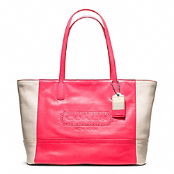 WEEKEND COLORBLOCK LEATHER MEDIUM ZIP TOP TOTE - f23469 - 24947