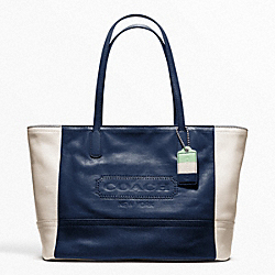 COACH LEGACY WEEKEND COLORBLOCK LEATHER MEDIUM ZIP TOP TOTE - ONE COLOR - F23469
