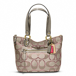 COACH POPPY METALLIC SIGNATURE SATEEN SMALL TOTE - BRASS/CREAM Light GoldGHT KHA/ROSE - F23473