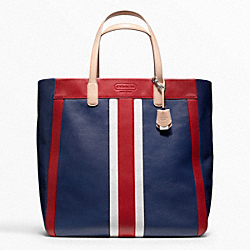 COACH WEEKEND BEACH LEATHER STRIPE LARGE NORTH/SOUTH TOTE - SILVER/NAVY MULTI - F23479