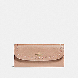 COACH SOFT WALLET WITH LACQUER RIVETS - IMITATION GOLD/NUDE PINK - F23504