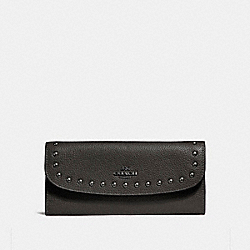 COACH SOFT WALLET WITH LACQUER RIVETS - ANTIQUE NICKEL/BLACK - F23504