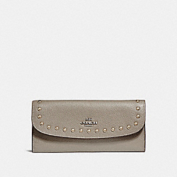 COACH SOFT WALLET WITH LACQUER RIVETS - SILVER/FOG - F23504