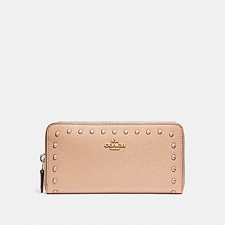 COACH ACCORDION WALLET WITH LACQUER RIVETS - IMITATION GOLD/NUDE PINK - f23505