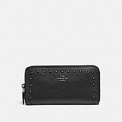 COACH ACCORDION WALLET WITH LACQUER RIVETS - ANTIQUE NICKEL/BLACK - F23505