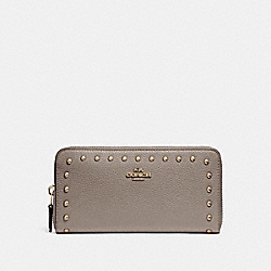COACH ACCORDION WALLET WITH LACQUER RIVETS - SILVER/FOG - F23505