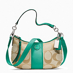 COACH SIGNATURE STRIPE DEMI CROSSBODY - SILVER/LT KHAKI/BRIGHT JADE - F23544