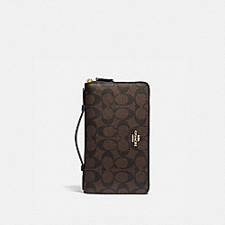 DOUBLE ZIP TRAVEL WALLET IN SIGNATURE CANVAS - BROWN/BLACK/GOLD - COACH F23552