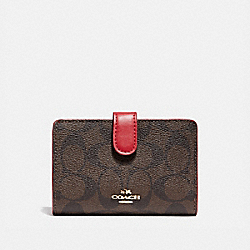 MEDIUM CORNER ZIP WALLET - LIGHT GOLD/BROWN - COACH F23553