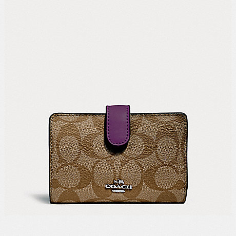 COACH MEDIUM CORNER ZIP WALLET - SILVER/KHAKI/BERRY - f23553