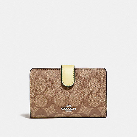 COACH MEDIUM CORNER ZIP WALLET IN SIGNATURE CANVAS - khaki/vanilla/silver - f23553