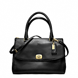 COACH LEATHER PINNACLE HARPER SATCHEL - GOLD/BLACK - F23562