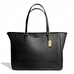 COACH SAFFIANO LEATHER MEDIUM CITY TOTE - BRASS/BLACK - F23576