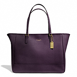 COACH SAFFIANO LEATHER MEDIUM CITY TOTE - BRASS/BLACK VIOLET - F23576