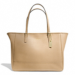COACH SAFFIANO LEATHER MEDIUM CITY TOTE - LIGHT GOLD/TAN - F23576