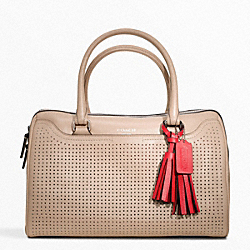 PERFORATED LEATHER HALEY SATCHEL - f23577 - SILVER/BISQUE/HIBISCUS