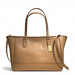 COACH SAFFIANO CITY TOTE - BRASS/TOFFEE - F23578