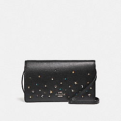 COACH FOLDOVER CROSSBODY CLUTCH WITH STARDUST STUDS - SILVER/BLACK - F23596