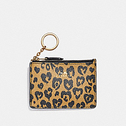 COACH MINI ID SKINNY WITH WILD HEART PRINT - LIGHT GOLD/NATURAL MULTI - F23623