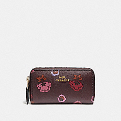 SMALL DOUBLE ZIP COIN CASE WITH PRIMROSE MEADOW PRINT - IMFCG - COACH F23635