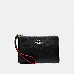 COACH CORNER ZIP WRISTLET WITH EDGEPAINT - SILVER/BLACK MULTI - F23644