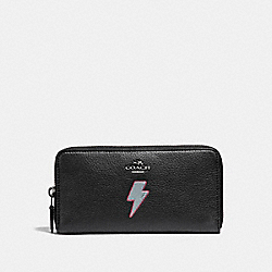 COACH ACCORDION WALLET WITH LIGHTNING BOLT MOTIF - ANTIQUE NICKEL/BLACK - F23646