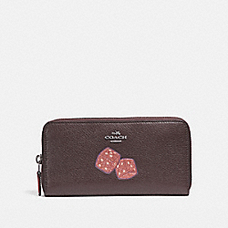 COACH ACCORDION WALLET WITH DICE MOTIF - BLACK ANTIQUE NICKEL/OXBLOOD 1 - F23647