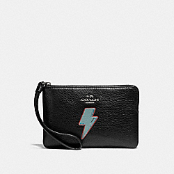 CORNER ZIP WRISTLET WITH LIGHTNING BOLT MOTIF - ANTIQUE NICKEL/BLACK - COACH F23650