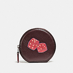 COACH ROUND COIN CASE WITH DICE MOTIF - BLACK ANTIQUE NICKEL/OXBLOOD 1 - F23652