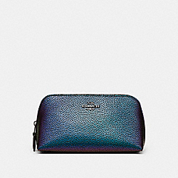 COACH COSMETIC CASE 17 - BLACK ANTIQUE NICKEL/HOLOGRAM - F23670