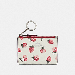 COACH MINI SKINNY ID CASE WITH FRUIT PRINT - SILVER/CHALK MULTI - F23676