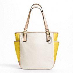 COLOR BLOCK LEATHER TOTE - f23683 - 12391