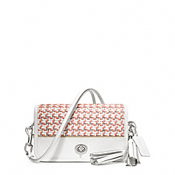 COACH CANING LEATHER PENNY SHOULDER PURSE - SILVER/CHALK/CORAL - F23705