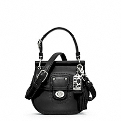 COACH WILLIS LEATHER MINI CROSSBODY - SILVER/BLACK - F23706