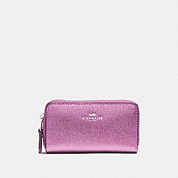 COACH SMALL DOUBLE ZIP COIN CASE - SILVER/METALLIC LILAC - F23750