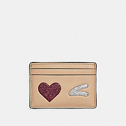FLAT CARD CASE WITH GLITTER HEART WINK - LIGHT GOLD/MULTICOLOR 1 - COACH F23760