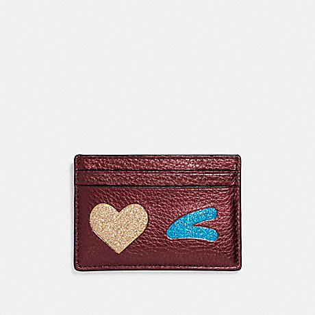 COACH FLAT CARD CASE WITH GLITTER HEART WINK - LIGHT GOLD/MULTICOLOR 1 - f23760