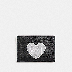 COACH FLAT CARD CASE WITH GLITTER HEART - SILVER/MULTICOLOR 1 - F23779