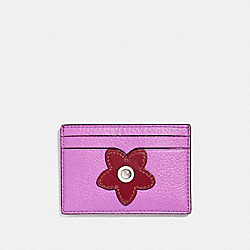 COACH FLAT CARD CASE WITH GLITTER FLOWER - SILVER/MULTICOLOR 1 - F23780