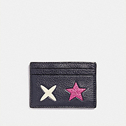 COACH FLAT CARD CASE WITH GLITTER STAR - SILVER/MULTICOLOR 1 - F23782