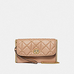 COACH CHAIN CROSSBODY WITH QUILTING - BEECHWOOD/LIGHT GOLD - F23816